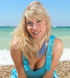 Girl near the sea. stock photo