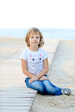 Girl near the sea Royalty Free Stock Photography