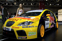 The girl near a Seat Leon TDI WTCC Royalty Free Stock Images
