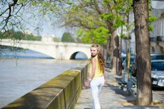 Girl near the Seine Stock Photography