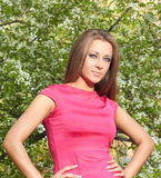 Girl near a tree. Girl in a pink dress on a background of flowering tree Stock Images