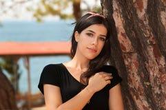 Girl Near Tree royalty free stock photo