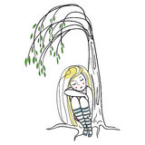 Girl near willow. Girl sleeping under a willow tree Royalty Free Stock Image