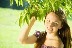 Girl near willow tree Stock Photography