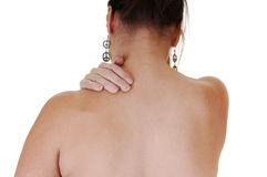 Girl with neck pain. Stock Images