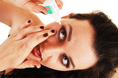 Girl need eye drops. Royalty Free Stock Image