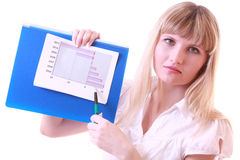 Girl with negative chart. Isolated on white Royalty Free Stock Images