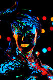 Girl with neon paint bodyart portrait Royalty Free Stock Photos