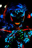 Girl with neon paint bodyart portrait Stock Images