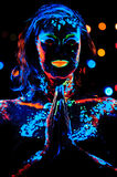 Girl with neon paint bodyart portrait Royalty Free Stock Photo