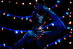 Girl with neon paint bodyart portrait Stock Image