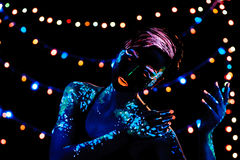 Girl with neon paint bodyart portrait Royalty Free Stock Images