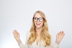 Girl with nerd glasses. isolated on white Stock Photos