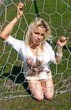 Girl in Net Goalie Stock Image