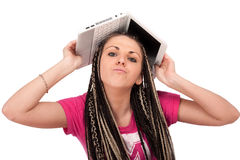 Girl & netbook stock images