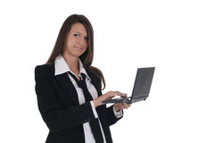 Girl with netbook Royalty Free Stock Image