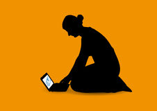Girl and netbook royalty free illustration