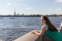 Girl on the Neva River Royalty Free Stock Image