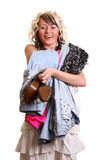 Girl with new clothes. Pleased girl and her new clothes Stock Images