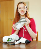 Girl with new running shoes Stock Image
