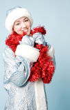 Girl in new year costume Royalty Free Stock Image