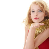 Girl with New Year's decor. Royalty Free Stock Photos