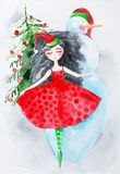 Girl in new year`s dress dancing on the background of a Christmas tree and a snowman. Watercolor illustration.  stock photography
