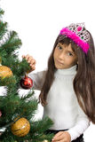 The girl with a New Year tree Stock Images
