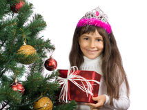 The girl with a New Year tree Royalty Free Stock Photos