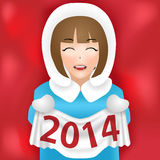 Girl new year 2014 vector. Girl new year 2014. This is file of EPS10 format Royalty Free Stock Photo