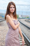 The girl next to railway Royalty Free Stock Image