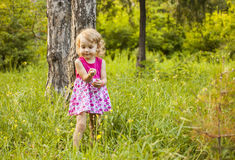 The girl next to the small tree Royalty Free Stock Photos