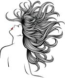 Girl with nice hairs from my fantasy Royalty Free Stock Photography