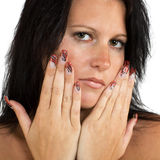 Girl with nice nails. Manicured female hands with nice nails Stock Photos