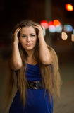 The girl in the night city Royalty Free Stock Image