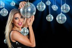 Girl at night disco club Stock Photography