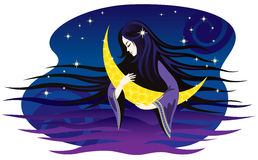 Girl-night sings a lullaby for the moon. Royalty Free Stock Images