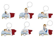 Girl in night sleepless and morning awakening. Psychology compositions of young girl in night sleepless and morning awakening. Vector illustration of character Royalty Free Stock Photo