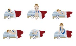Girl in night sleepless and morning awakening. Psychology compositions of young girl in night sleepless and morning awakening. Vector illustration of character Stock Photography