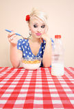 Girl with no appetite Stock Images