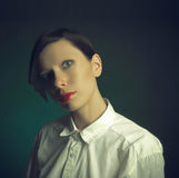 Girl with no eyebrows Stock Photo