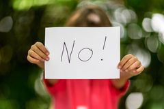 Girl with No sign Royalty Free Stock Images