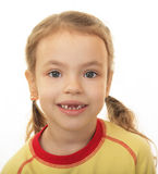 Girl with no upper teeth. Stock Photos