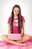 Girl & notebook Stock Images