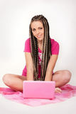 Girl & notebook Royalty Free Stock Image