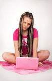 Girl & notebook royalty free stock photos