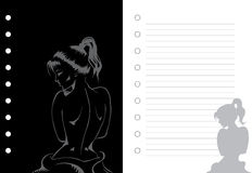 Girl notebook. Cover and page, no gradients used, layered illustration Royalty Free Stock Images