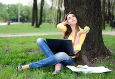 Girl with notebook Stock Image