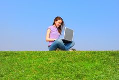 Girl with notebook Royalty Free Stock Image