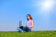 Girl with notebook Stock Images